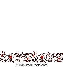 seamless, אופקי, גבול, עם, סגנן, יפה, פרחים