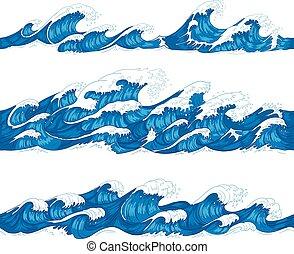 seamless, אוקינוס, waves., ים, גלוש, קישוטי, לגלוש, קרזל, ו, השקה תבנית, העבר, צייר, רשום, וקטור, דוגמה, קבע