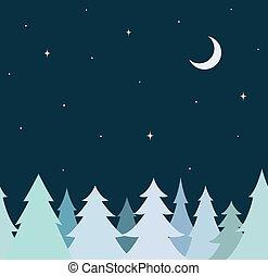 seamless, גבול קישוטי, מ, כחול, עץ, שמיים של לילה, עם, ירח, ו, stars., דירה, עצב
