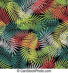 seamless, טרופי, תבנית, עם, סגנן, דקל של קוקוס, leaves.