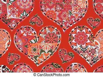 seamless, יום של ולנטיין, תבנית, עם, פסטל, אדום לבן, אפור, מעשה טלאים, לבבות, ב, רקע אדום
