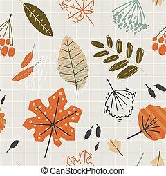 seamless, סתו, leaves., spirit., herbarium., תבנית, נפול
