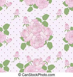 seamless, רומנטי, תבנית, עם, ורדים