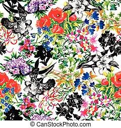 seamless, תבנית, עם, יפה, פרחים, וואטארכולור צובע
