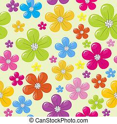 seamless, תבנית, עם, צבע, פרחים