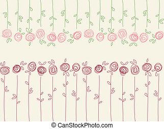 seamless, תבנית פרחונית, עם, תקציר, ורדים, פרחים
