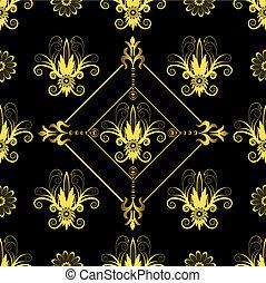 seamless, תבנית, שחור, פרחוני