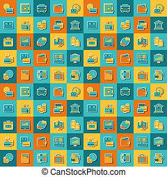 seamless, תבנית, של, בנקאות, icons.