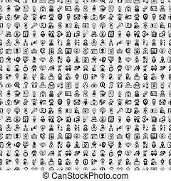 seamless, いたずら書き, 人々, パターン