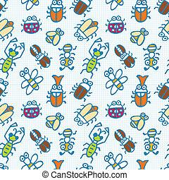 seamless, かわいい, 虫, パターン