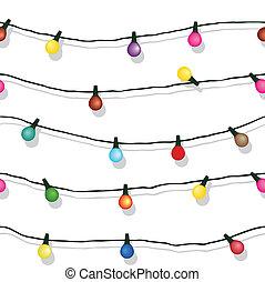seamless, ひも, の, クリスマスライト, 隔離された, 白
