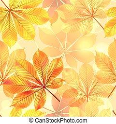 seamless, イラスト, leaves., 秋, ベクトル, 背景