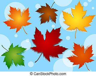 seamless, カエデ休暇, 秋の色, パターン, 上に, 青