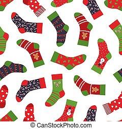 seamless, クリスマス, ソックス, 衣類, 要素, ベクトル, 新しい, パターン, 冬, pattern., 年, ホリデー, 手ざわり, ornaments.
