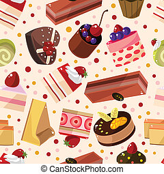 seamless, ケーキ, パターン