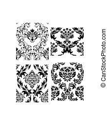 seamless, ダマスク織, パターン, セット