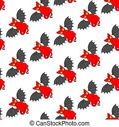 seamless., バックグラウンド。, 赤, 悪魔, パターン, 装飾, ペット, satan, texture., ベクトル, ねこ, 動物, 悪魔
