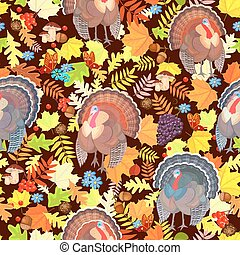 seamless, パターン, ∥で∥, かわいい, 七面鳥, そして, 紅葉