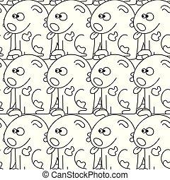 seamless, パターン, ∥で∥, かわいい, dogs., ベクトル, イラスト, ∥で∥, 面白い, 子犬