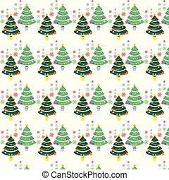 seamless, パターン, ∥で∥, クリスマスツリー, そして, 雪片, ∥ために∥, 冬, ホリデー, デザイン
