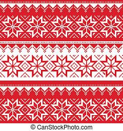 seamless, パターン, クリスマス, nordic