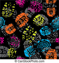 seamless, パターン, プリント, の, foots, の, ∥, 子供, ベクトル