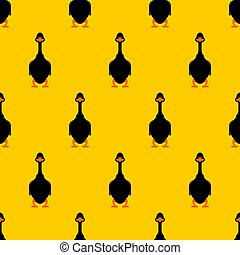 seamless., パターン, 国内, 手ざわり, ガチョウ, バックグラウンド。, ベクトル, 黒, 水鳥