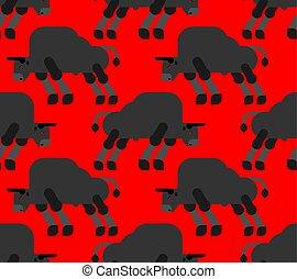 seamless., パターン, 牛, 手ざわり, バックグラウンド。, ベクトル, 雄牛
