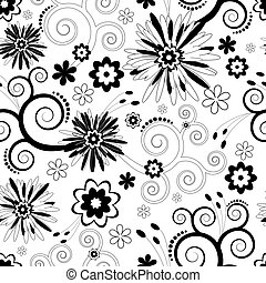 seamless, パターン, 花