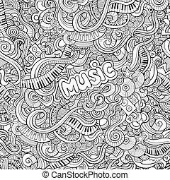 seamless, パターン, 音楽, 漫画, doodles