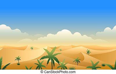 seamless, パノラマ, 横, 砂漠, パターン