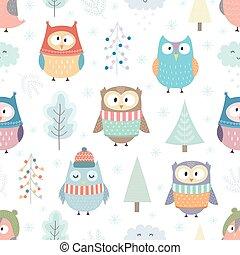 seamless, フクロウ, 冬, パターン