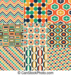 seamless, レトロ, パターン, 印刷
