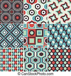 seamless, レトロ, 幾何学的な パターン