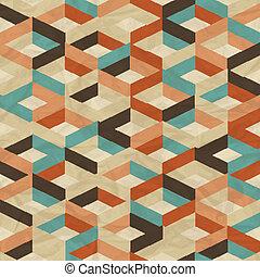 seamless, レトロ, 幾何学的, pattern.