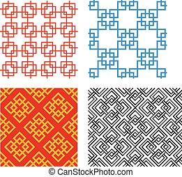 seamless, 中国語, パターン, 中に, 幾何学的, スタイル, ベクトル