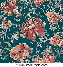 seamless, 中国語, pattern., 水彩画, スタイル, 壁紙, ∥で∥, 花, 装飾, .