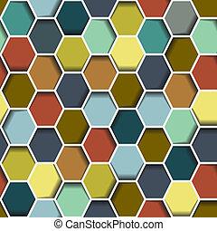 seamless, 六角形, 抽象的