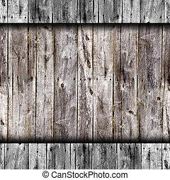 seamless, 古い, 灰色, フェンス, 板, 木手ざわり