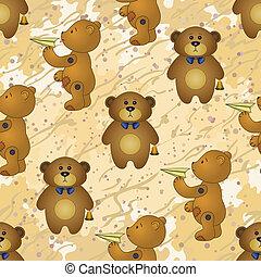 seamless, 圖案, 玩具熊, 由于, 玩具