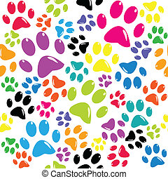 seamless, 圖案, 由于, 上色, paws