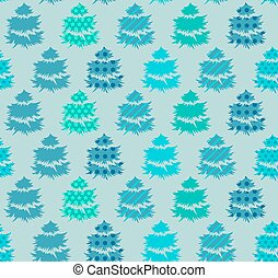 seamless, 圖案, 由于, 冬天樹