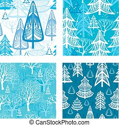 seamless, 圖案, 由于, 冬天, 森林