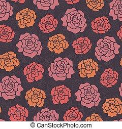 seamless, 圖案, 由于, 裝飾, 玫瑰