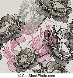 seamless, 圖案, 由于, 開花, 玫瑰, 上, 灰色的背景, 手, drawing., 矢量,...