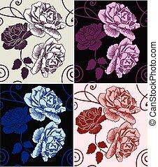 seamless, 圖案, 美麗, 裝飾, 玫瑰