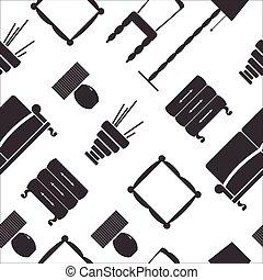 seamless, 平ら, 家具, パターン, アイコン