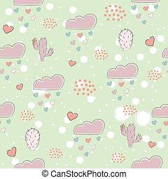 seamless, 心, 雨が降る, 背景, 手, 引かれる, 点, 白, 心, 雲, パターン, サボテン, かわいい