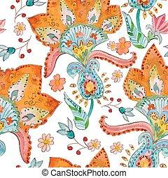 seamless, 手ざわり, ∥で∥, かわいい, flowers., 水彩画
