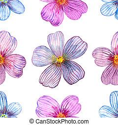 seamless, 手ざわり, の, 水彩画, 花